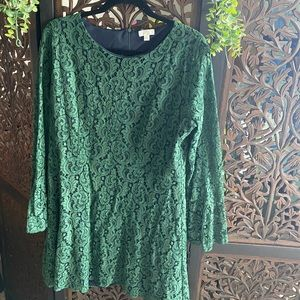 Green Lace Dress with Bell Sleeves